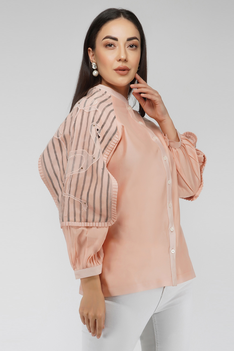 Shirt with Flap Sleeves and Minimal Embroidery - Baby Pink - upasanagupta