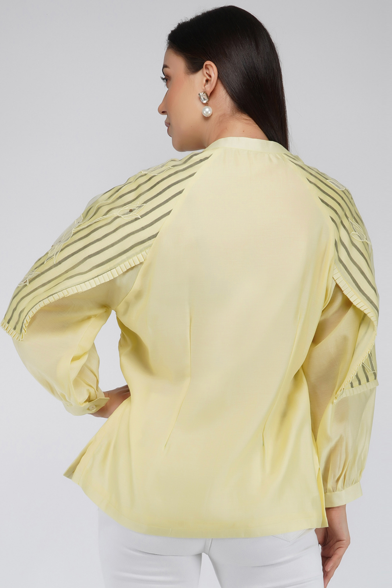 Shirt with Flap Sleeves and Minimal Embroidery - upasanagupta