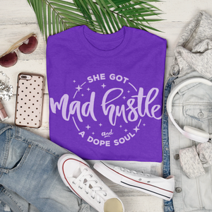 Women's Fit Mad Hustle Tee (purple or black)