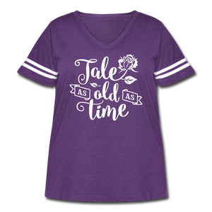 Curvy-Fit TALE AS OLD AS TIME T-Shirt - vintage purple/white