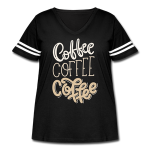 Curvy-Fit COFFEE x3 T-Shirt - black/white