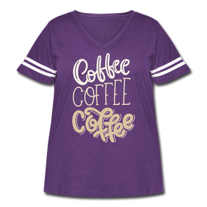 Curvy-Fit COFFEE x3 T-Shirt - vintage purple/white