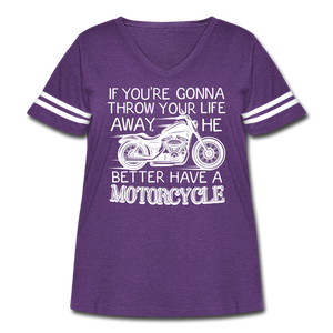 "Curvy-Fit ""He Better Have a Motorcycle"" T-Shirt - vintage purple/white"