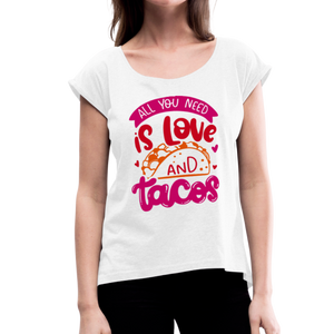 Women's Roll Cuff Love & Tacos T-Shirt - white