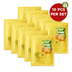 SOOTHING & MOISTURE ALOE VERA 92% SOOTHING GEL HONEY MASK SHEET (10 PIECES/SET)