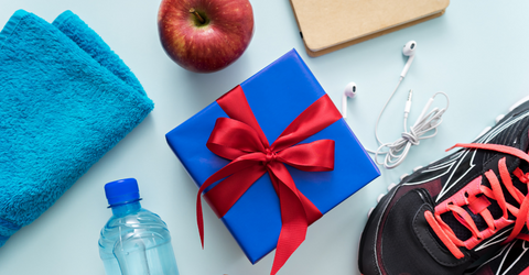 Picture displaying healthy gifts and fitness presents for their health-conscious loved one.