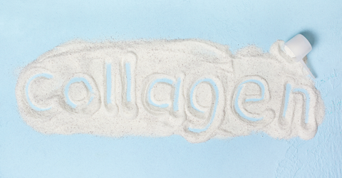 "Collagen powder with the word ""collagen"" spelled out within it."