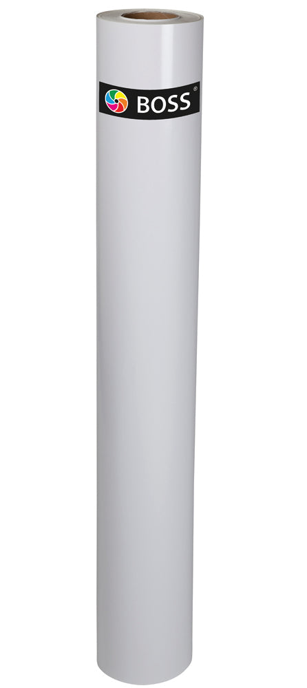 BOSS Premium Grade 7-Year Polymeric Self-Adhesive Vinyl Roll, 80 Micron-77mm Core-Length 50m-Width 1370mm, White Back, Gloss