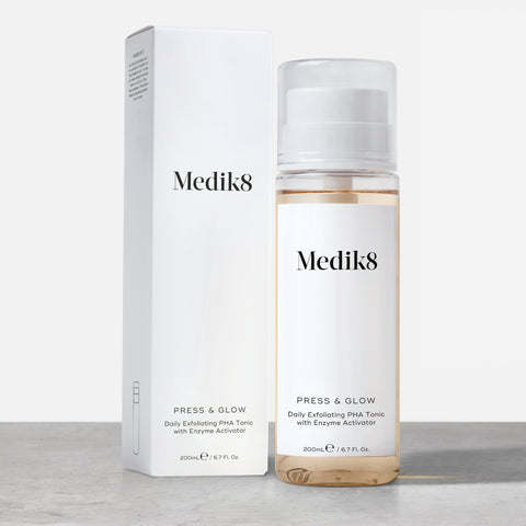 Press & Glow™ by Medik8. A Daily Exfoliating PHA Tonic with Enzyme Activator.
