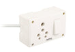 Palfrey Electric Extension Board - Single 16A with Switch and Heavy Duty 2 Meter Wire (White)