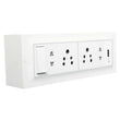 Palfrey Electric Extension Board - 5A + 5A + 2 Universal Double Pin Socket + USB Socket with Master Switch and Heavy Duty 15 Meter Wire (White)
