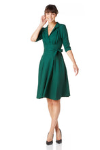 Load image into Gallery viewer, Green wool crepe Dorothy dress