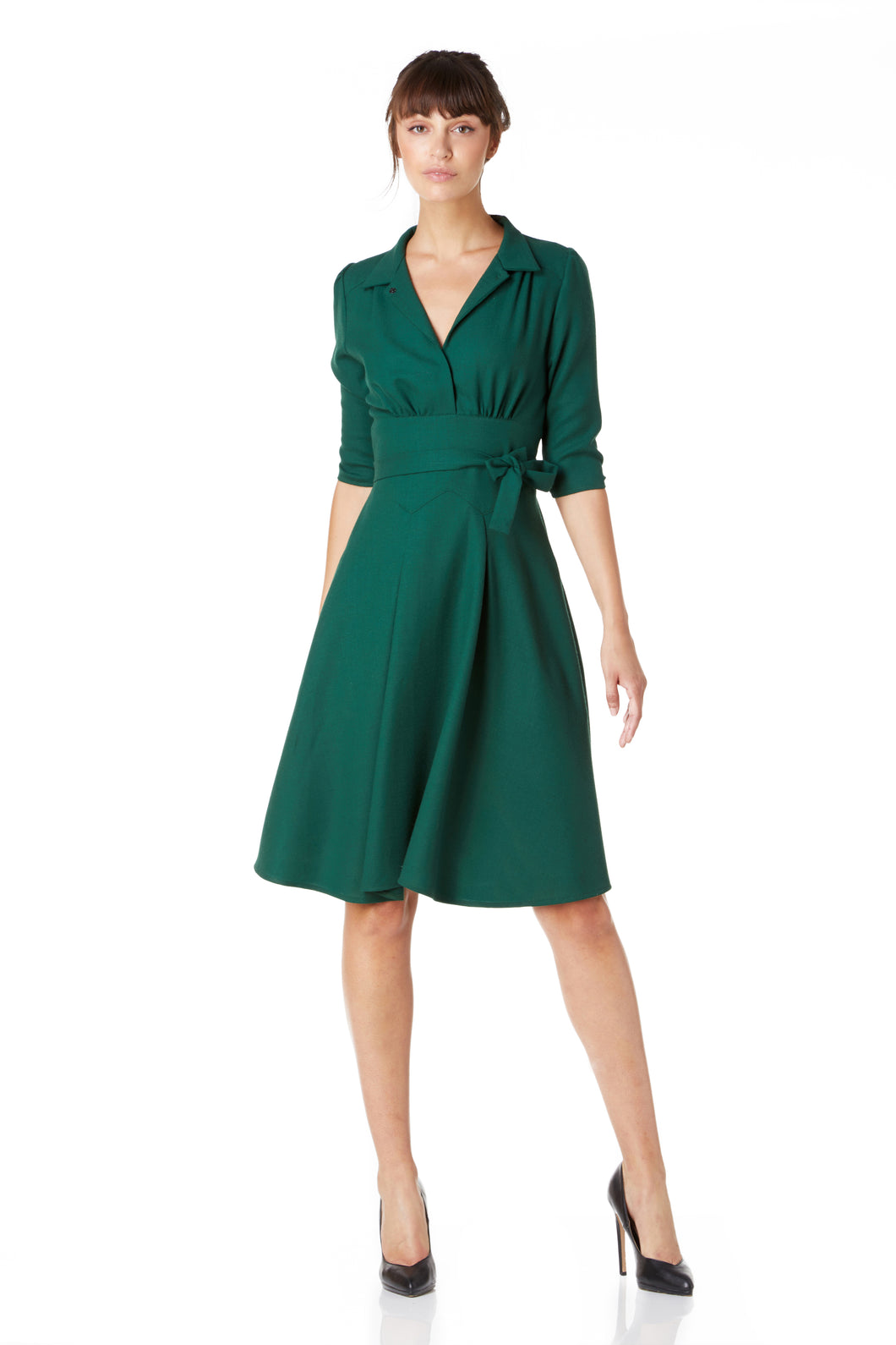 Green wool crepe Dorothy dress