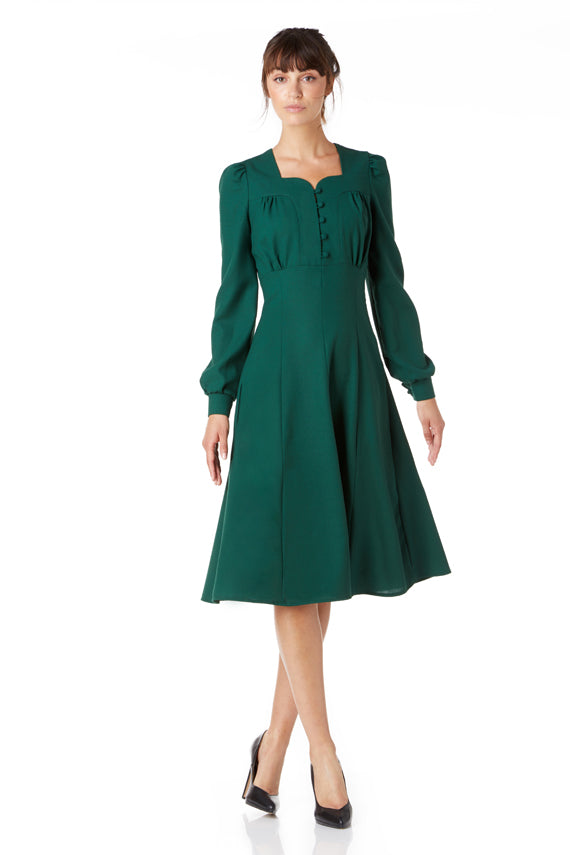 The Gabby in bottle green wool crepe