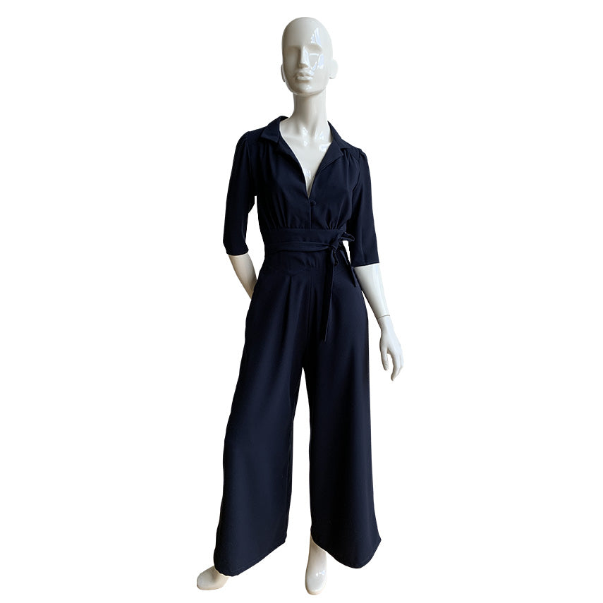 The Jumpsuit in navy crepe