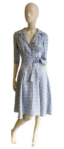 Blue and yellow check linen front image