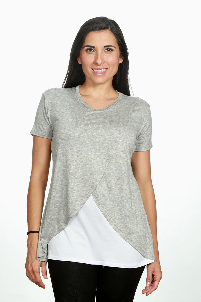 Blusa para lactancia manga corta cross Color gris-blanco (Brushed)