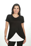 Blusa para lactancia manga corta cross color Negra-Blanco
