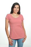 Blusa para lactancia open neck color palo de rosa (Brushed)