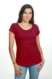 Blusa para lactancia open neck color vino  (Tela viscosa)