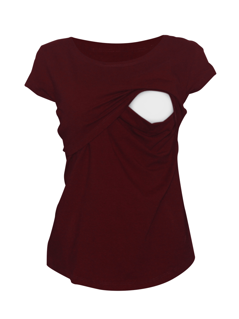 Blusa para lactancia open neck color Vino (Algodón)
