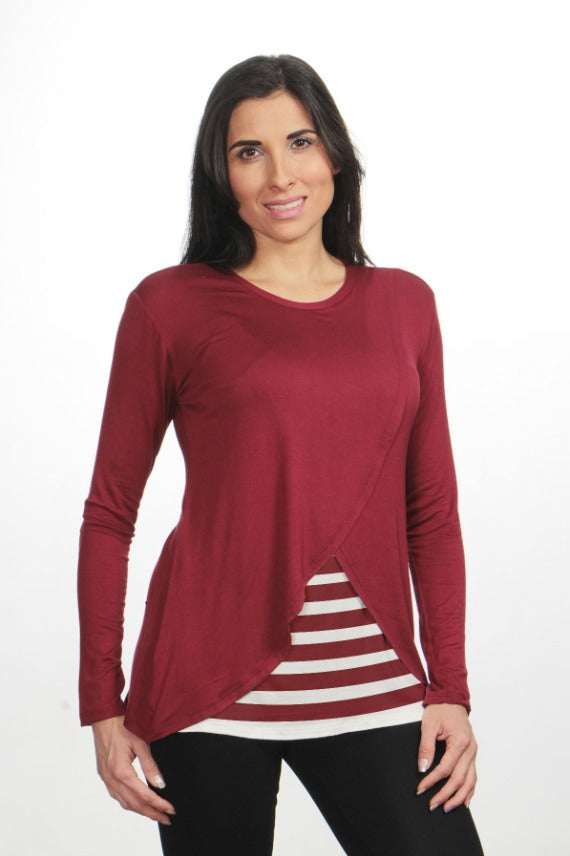 Blusa para Lactancia Manga Larga Cross Color Vino-Rayas