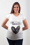 Blusa para embarazo basic color blanca estampado Love