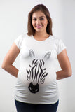 Blusa para embarazo basic color blanca estampado zebra