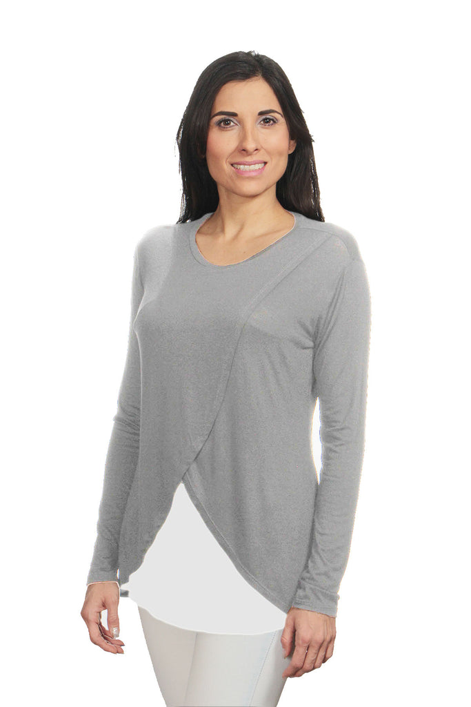 Blusa para lactancia y embarazo manga larga Cross Color Gris Jaspe-Blanco
