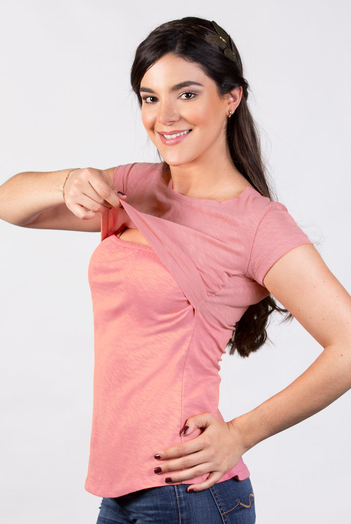 Blusa para lactancia open neck color rosa (Poliéster)