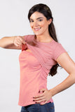 Blusa para lactancia open neck color rosa (Brushed)