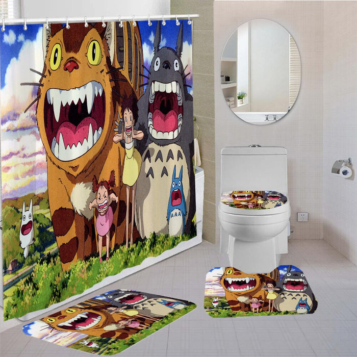 3/4 Pieces Totoro Shower Curtains Sets Anime Cartoon Carpet Toilet 3D Print Bathroom Mat The Film Movie Kids Shower Curtain