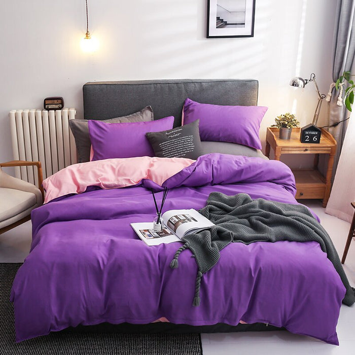 Nordic Double Color Bedding Set Single Queen King Duver Cover Set 240x220 Bed Sheet Bed Linen Pillowcase Gray Pink Quilt Covers