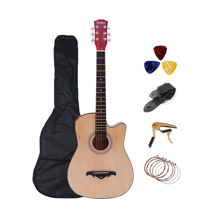 38 inch Acoustic Guitar Folk Guitar for Beginners 6 Strings Basswood with Sets Black White Wood Brown Guitar AGT16A