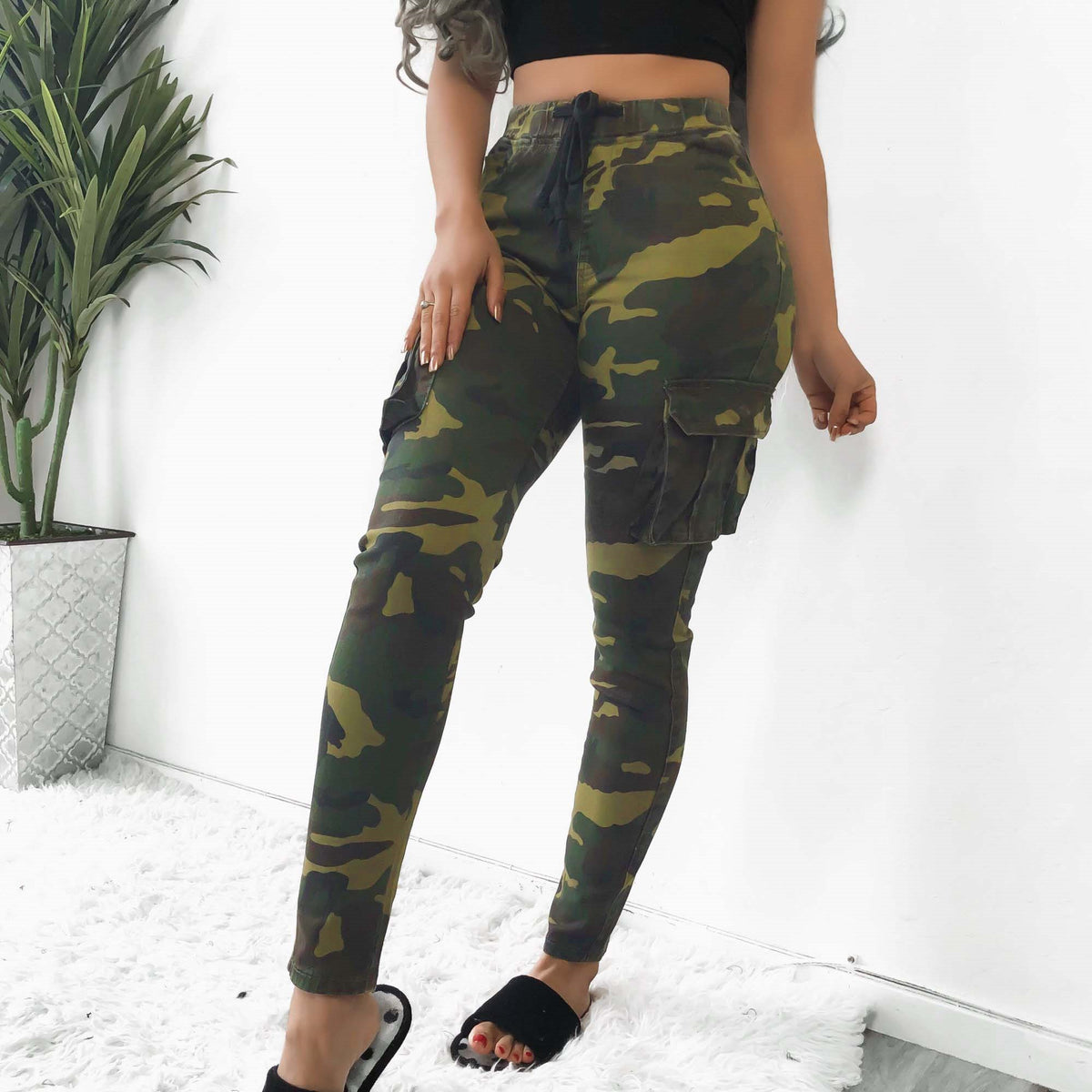 Pockets Skinny Pencil Casual Pants Women Lace up Pantalon Cintura Alta Camouflage Jogers Para Mujer Sexy Long Womens Trousers
