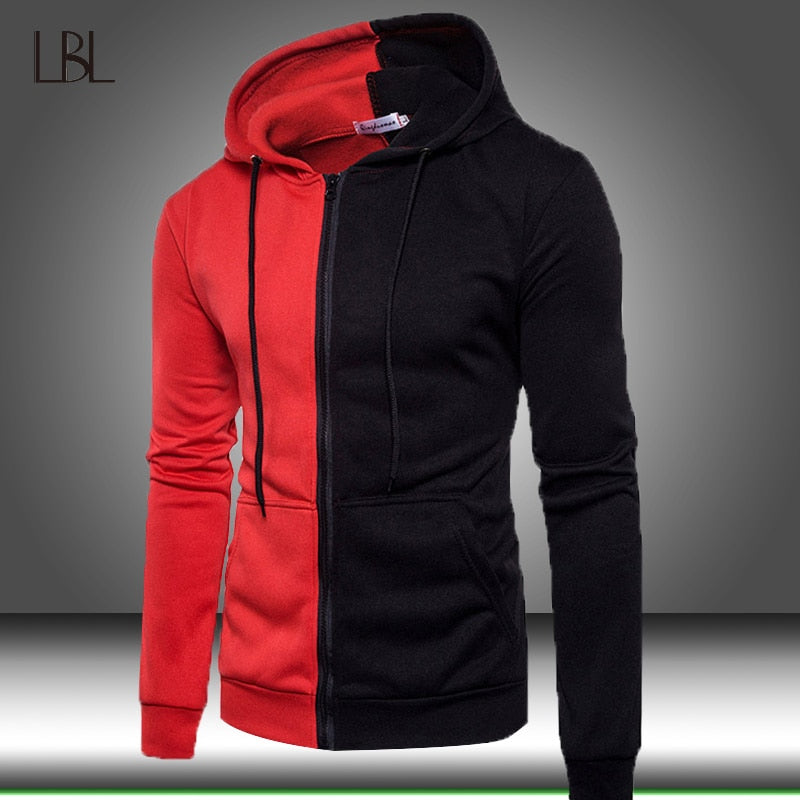 Sweatshirt Mens Autumn Winter Casual Patchwork Men Slim Fit Sweatshirt Hoodies Top Men's Warm Outdoor Sport Top Male Hoody Coat
