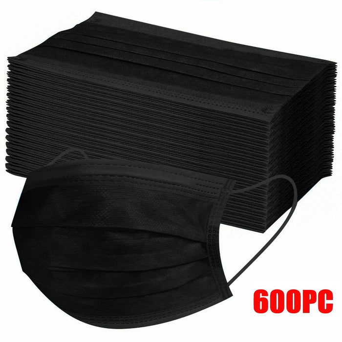 600pcs Black Disposable Face Masks 3-layer Non-Woven Ear Loop Adjustable Masks