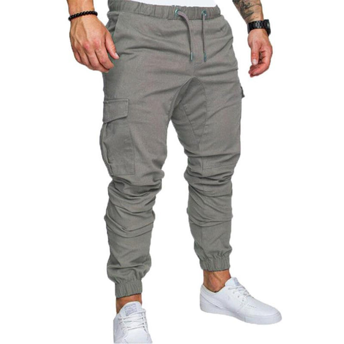 ZITY Cargo Pants Men Casual Sweatpants Solid Gray Black Gyms Fitness Workout Pants Jogger Mens Multi -Pocket Sportswear Trousers