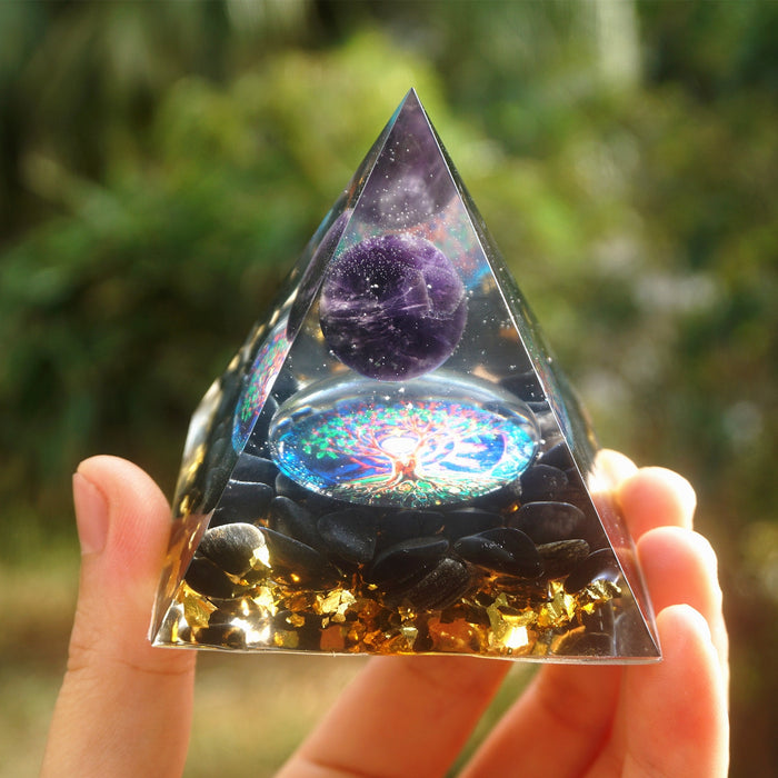 Orgonite Pyramid 60mm Amethyst Crystal Sphere With Obsidian Natural Cristal Stone Orgone Energy Healing Reiki Chakra Multiplier