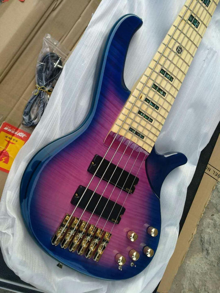 free shipping deoliver bas gold hardware low price bass wholesale 6 string active purple bass guitar