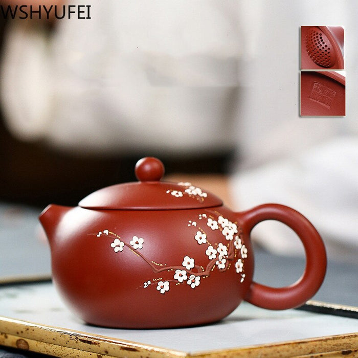 Chinese Yixing Teapot Pure Handmade Plum blossom Xi Shi Pot Purple Clay Tea set kettle 188 Ball Hole filter 240ml