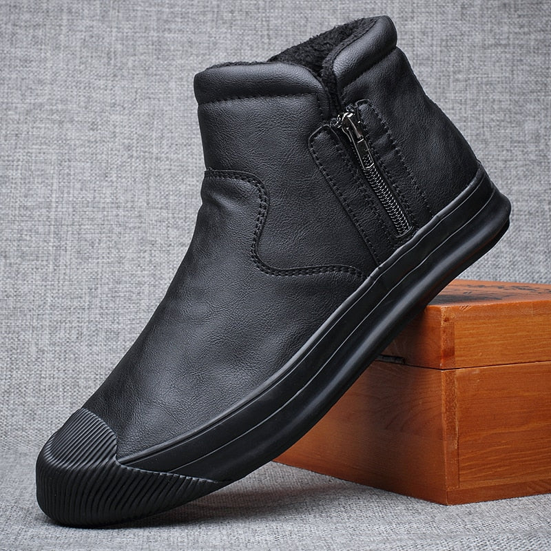 2020 Winter New Men Ankle Short Boots High Top Plus Cotton Keep Warm Shoes Simplicity Zipper British Style Casual Loafer Shoe