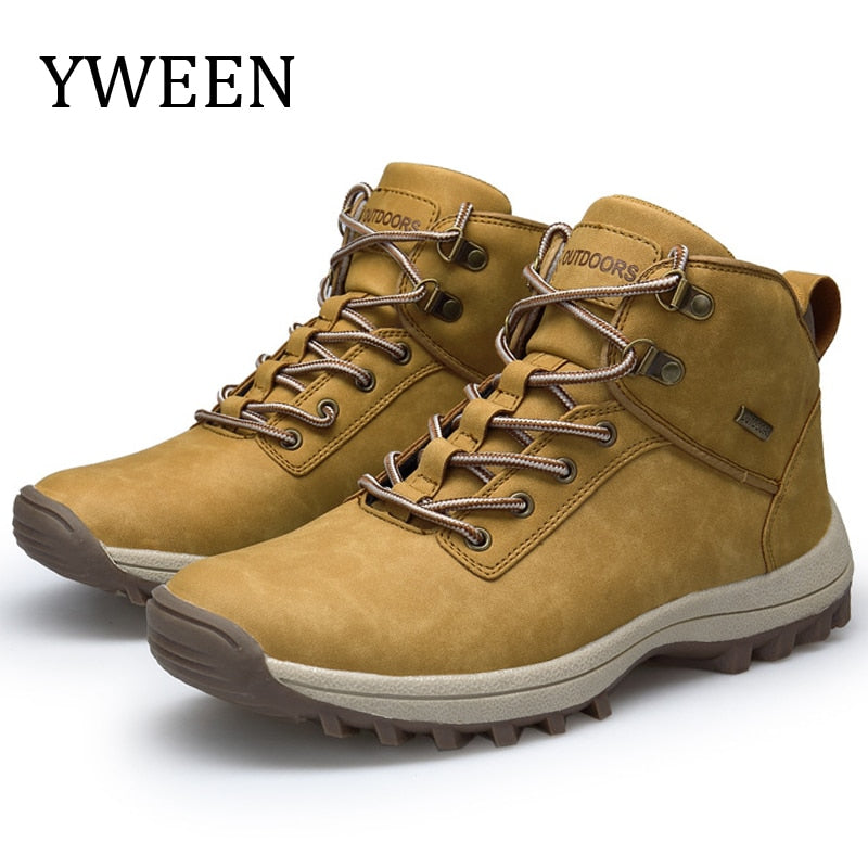 YWEEN Men Hiking Shoes Men Microfiber Leather Shoes Climbing & Fishing Shoes New Popular Outdoor Shoes Men High Top Sneakers