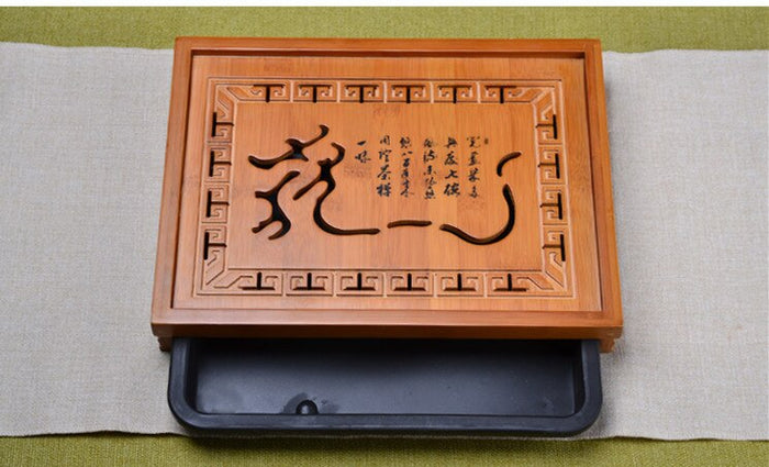 Hot Sale Flower Carving Kung Fu Tea Set Natural Wood Bamboo Tea Tray Rectangular Traditional Bamboo Puer Tea Tray Tea Table