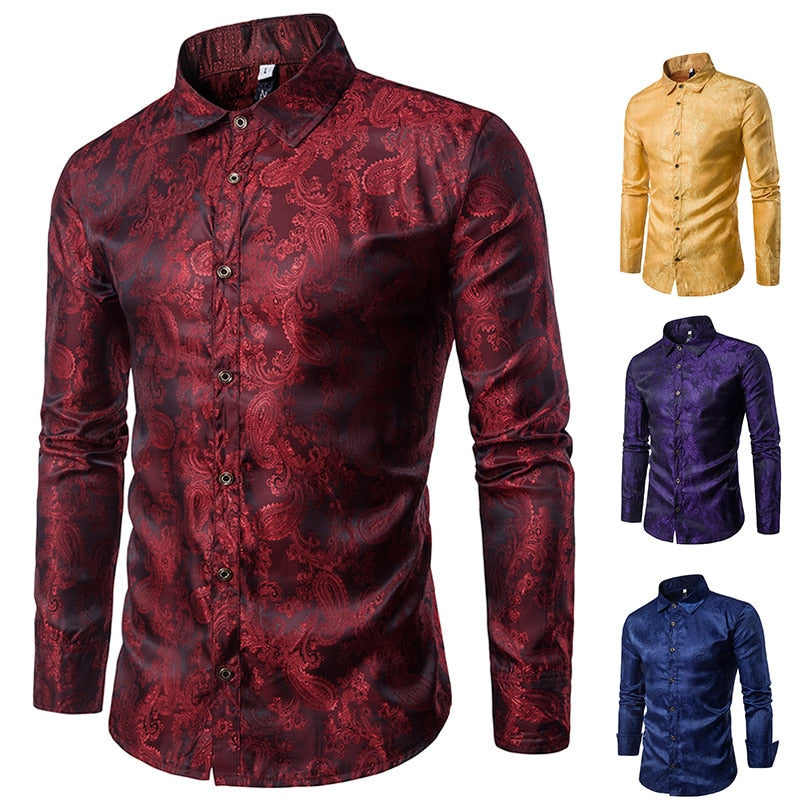 Banquet Wedding Shirt Party Shirt Bar Nightclub Shirt  Men Shirt Bright long Shirt tPaisley Shirt Men Long sleeved Shirt