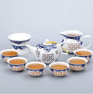 TANGPIN blue-and-white ceramic teapot gaiwan tea cup for puer chinese kung fu tea set drinkware