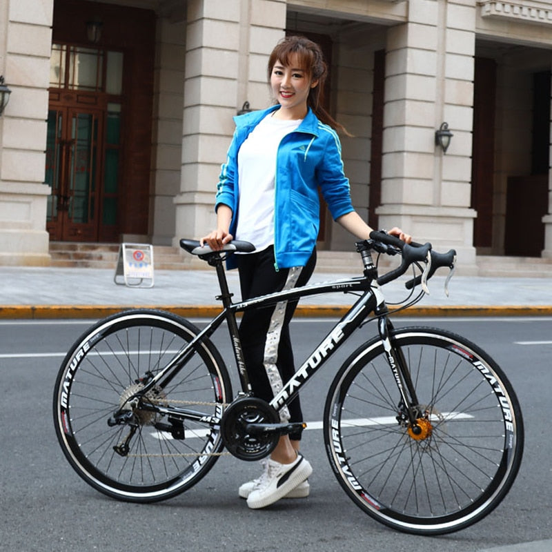 Road bike 21 30 33 speed ultra light aluminum alloy double disc brakes variable speed bicycle bend student bicycle racing bike