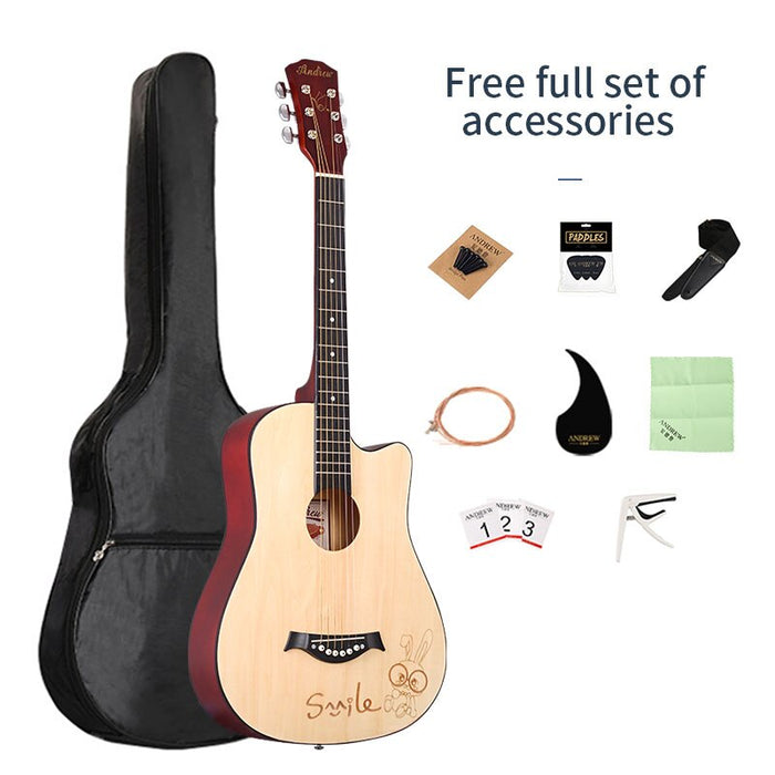 Thin body acoustic electric guitar beginner guitar  mahogany material, with free bag, free strings, guitar accessories provided