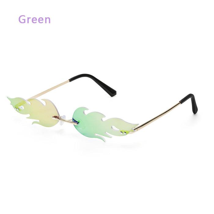 Retro Fire Flame Sunglasses Vintage Women Rimless Wave Sun Glasses UV 400 Eyewear Metal Color glasses for Female Fashion Design