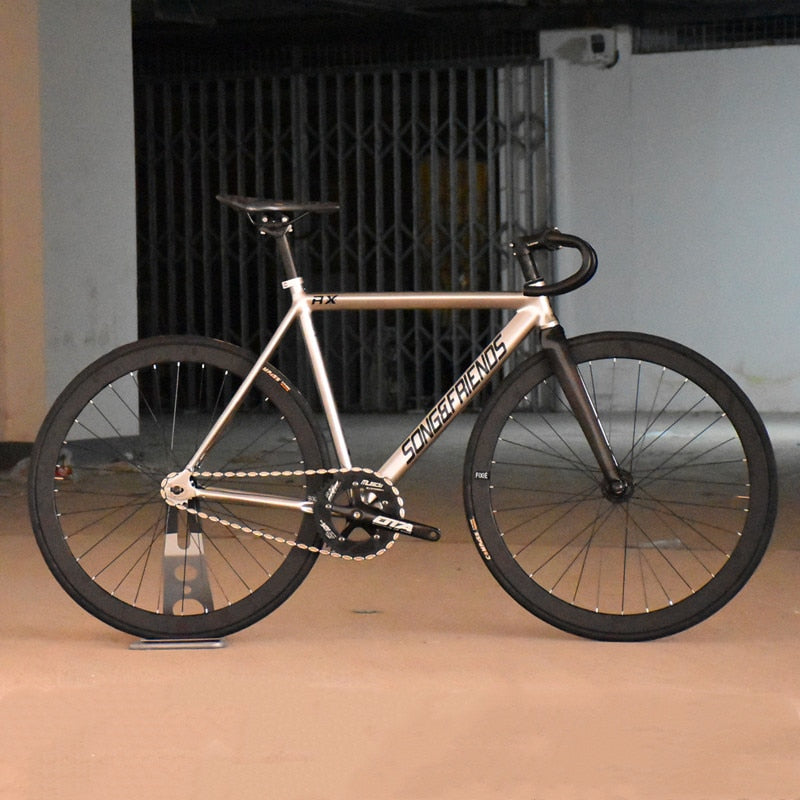 FIXED GEAR BIKE 48cm 52cm 55cm 60cm single speed bike Track Bicycle Aluminum alloy Frame with carbon fiber fork 40MM alloy WHEEL